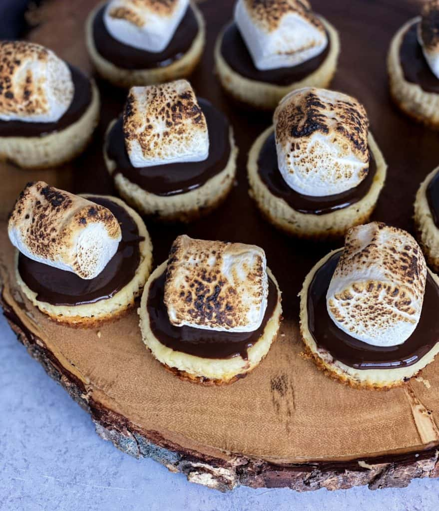 mini smores cheesecakes on a wood platter