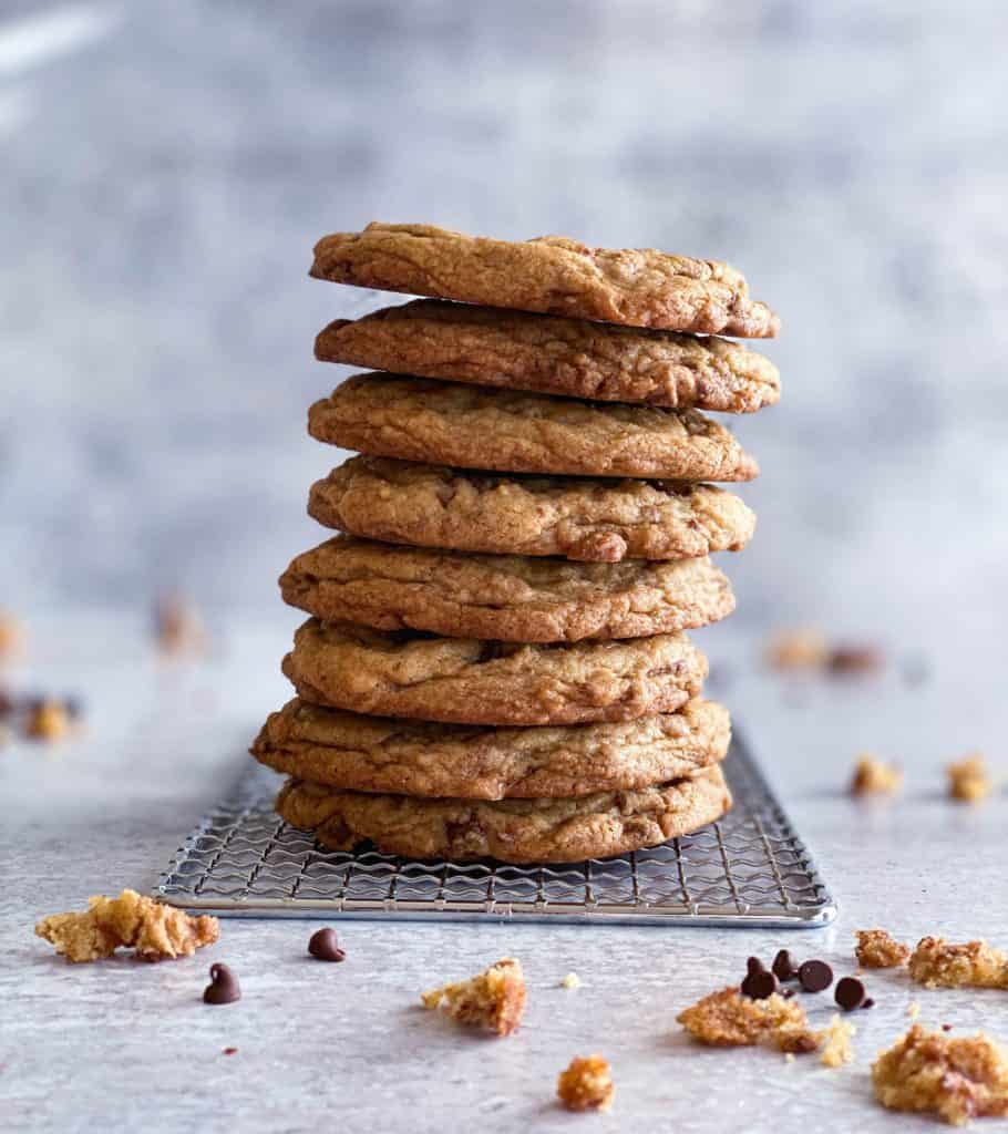 toffee chocolate chip cookies stacked up high