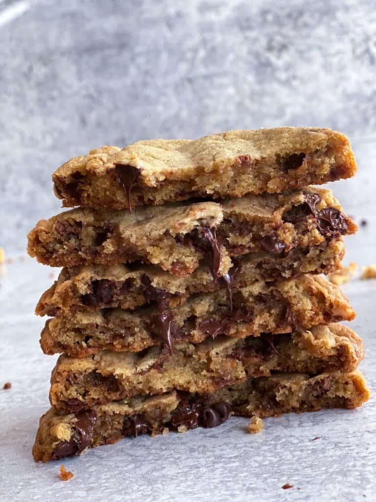 toffee chocolate chip cookies split in half