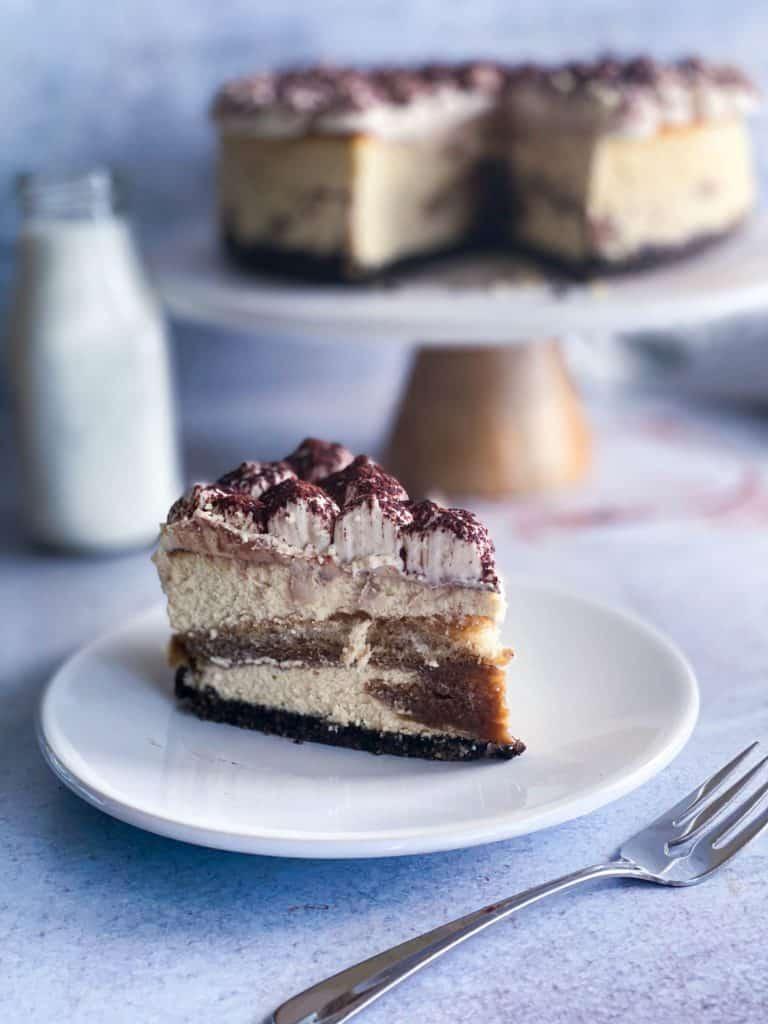 tiramisu cheesecake slice