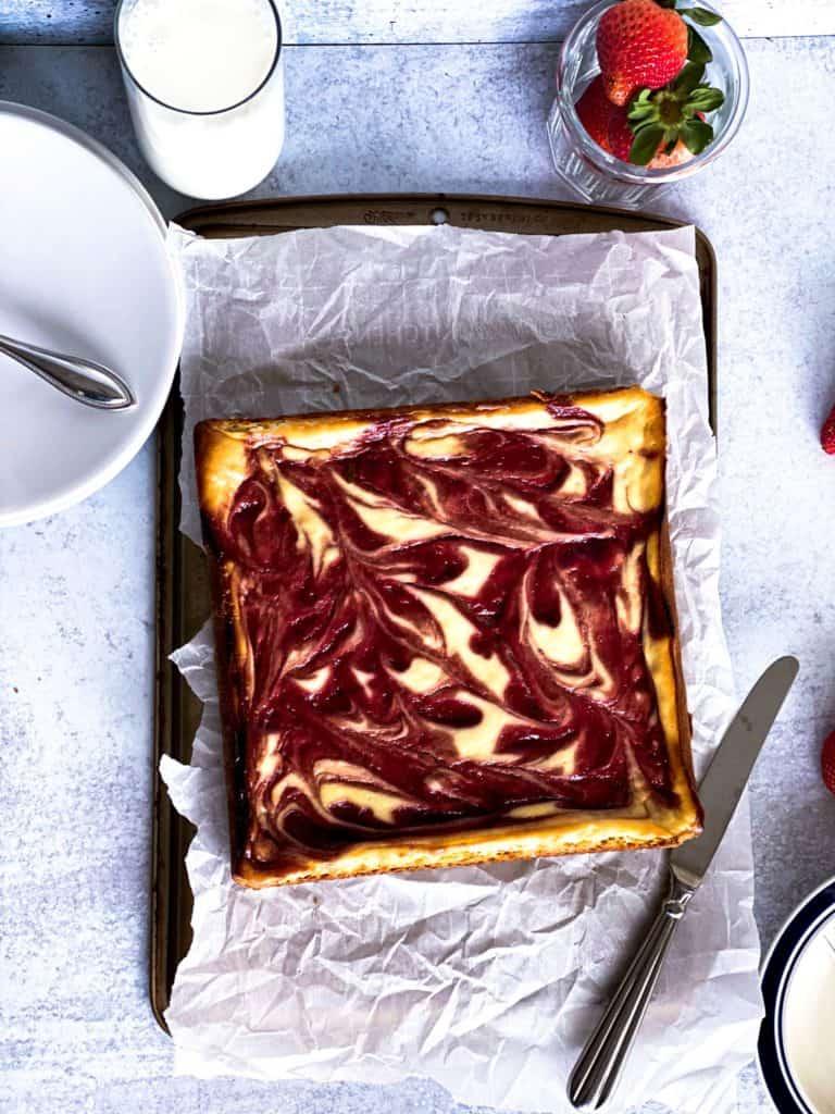 Full 8X8 strawberry cheesecake bars.
