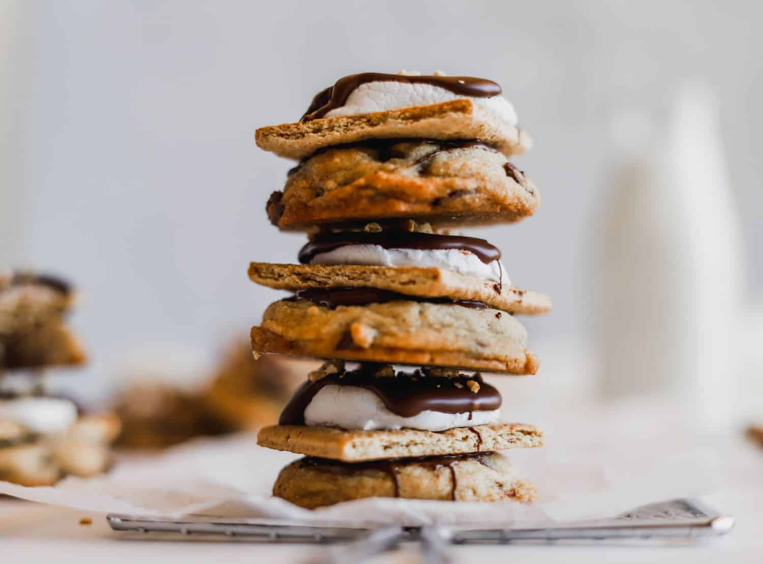 A stack of best S'mores Chocolate Chip Cookies.