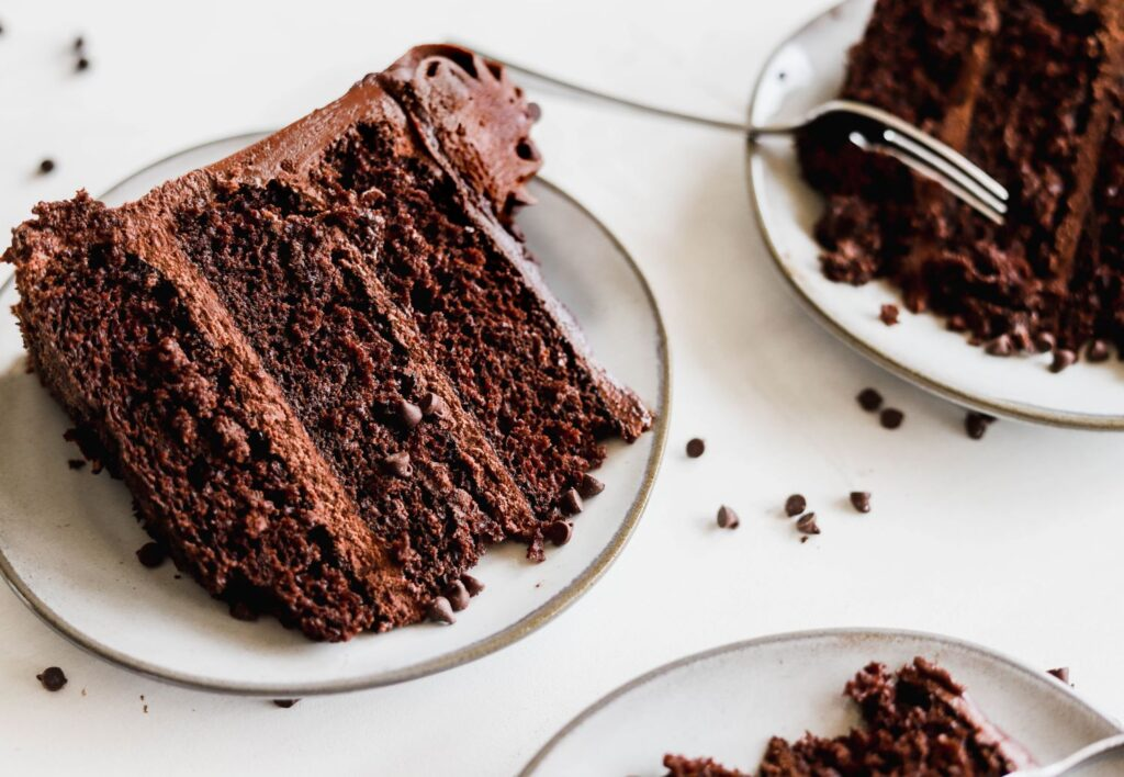 slice of triple chocolate cake that is very rich and easy to make.