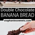 Pinterest pin for Double Chocolate Banana Bread