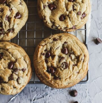Brown butter chocolate chip cookies are chewy, gooey, soft and easy to make on a cookie sheet.