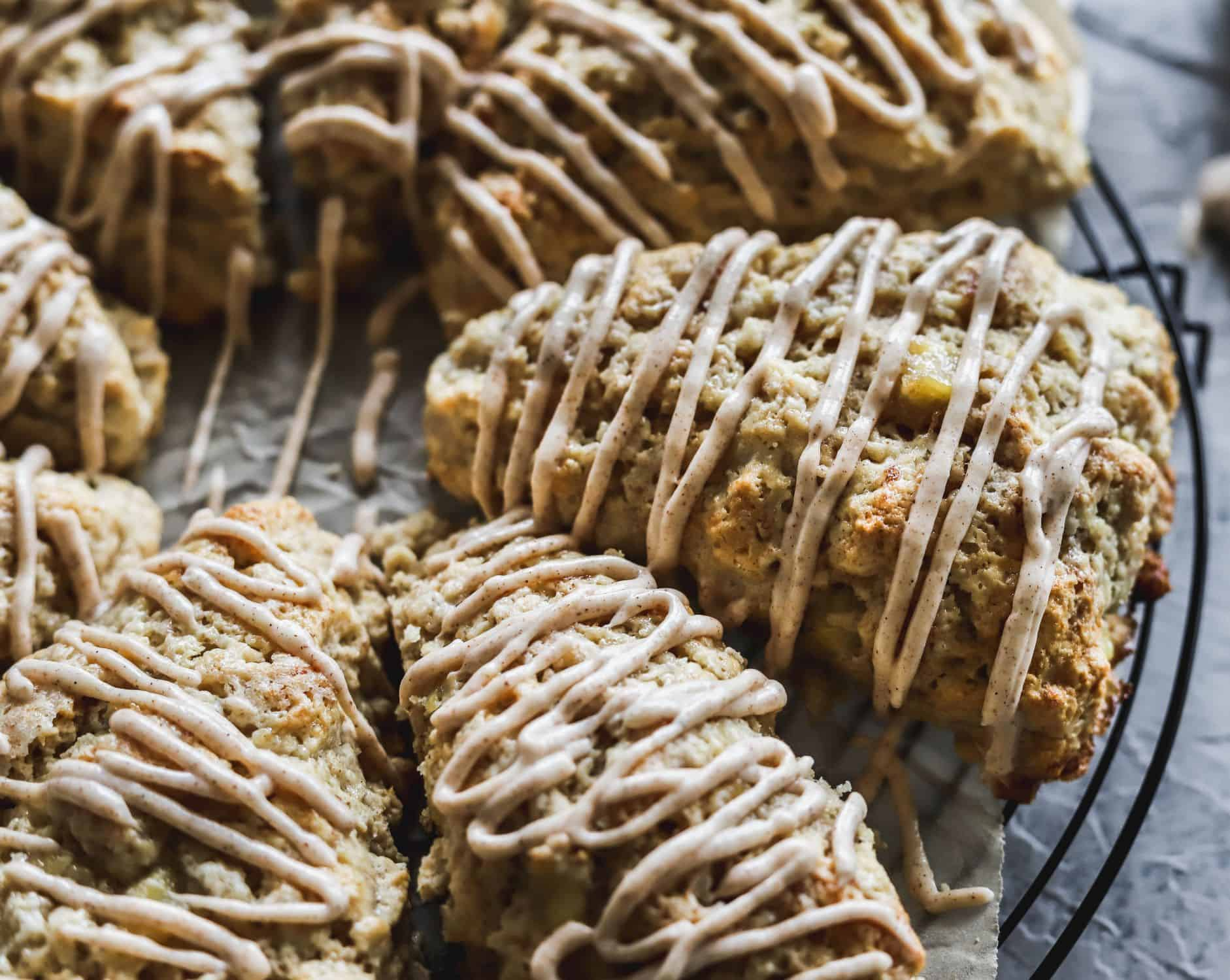 Easy cinnamon banana scones are moist, fluffy and topped with a cinnamon cream cheese glaze.
