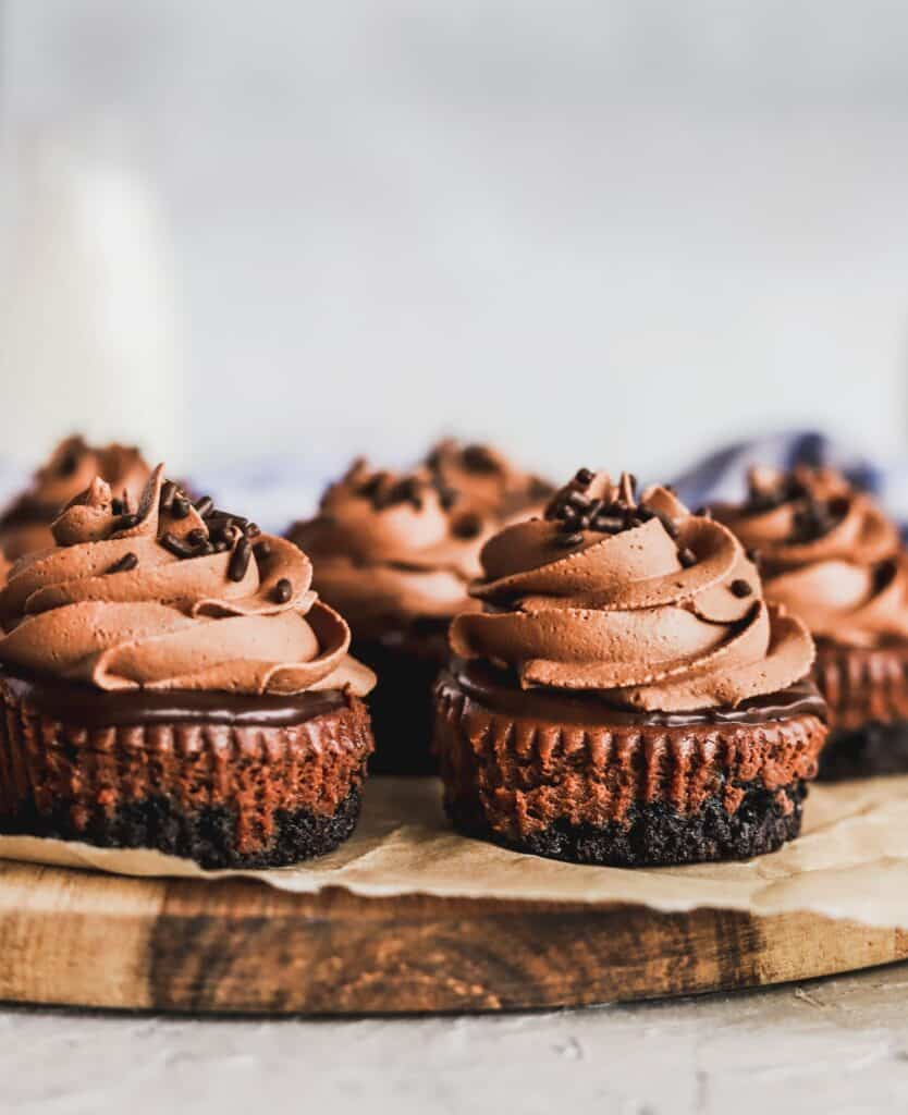 mini chocolate cheesecakes with a whipped chocolate cream and extra chocolate sprinkles