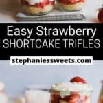 Pinterest pin for Easy Strawberry Shortcake Trifles