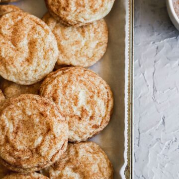 These fluffy snickerdoodle cookies are chewy and super soft.