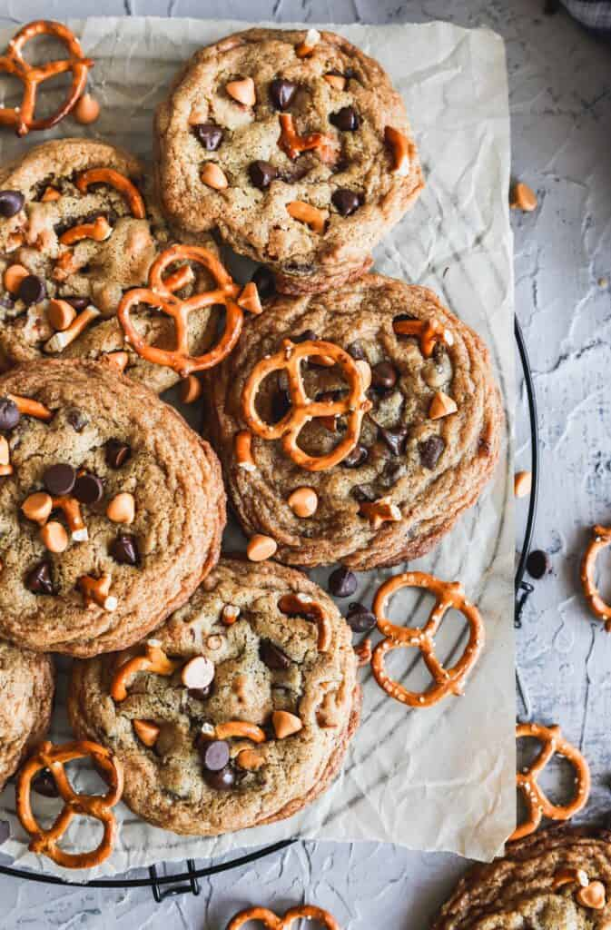 Tray of the best butterscotch chocolate chip cookies with pretzels.