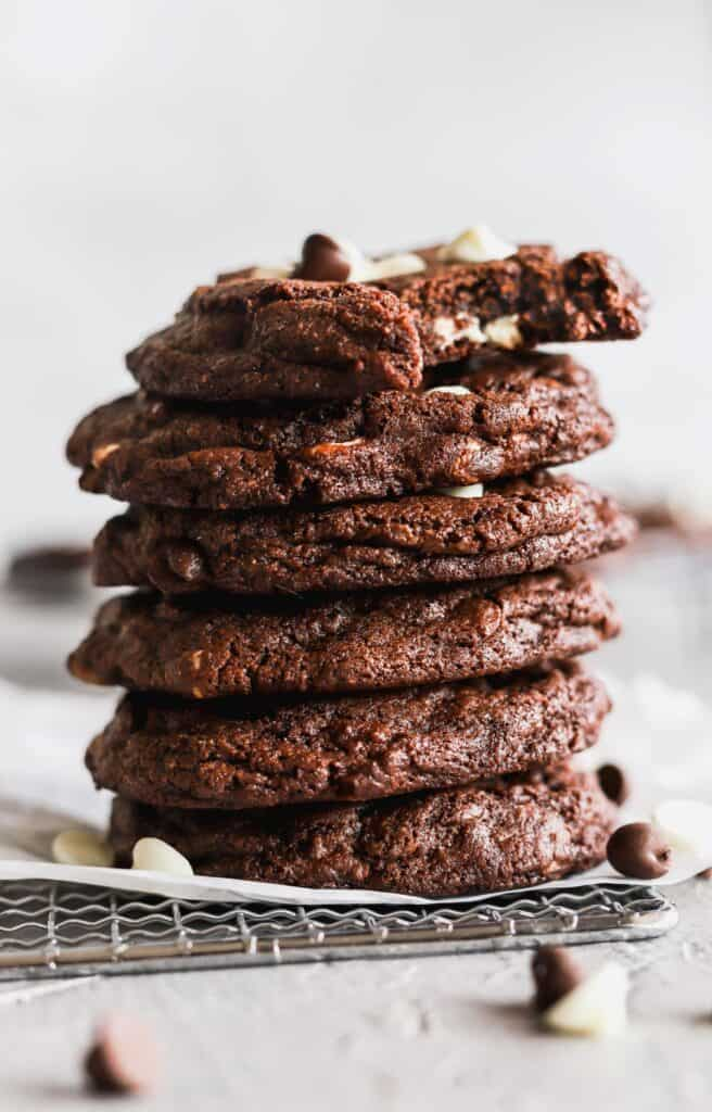 Stack of white chip double chocolate cookies to show the texture.