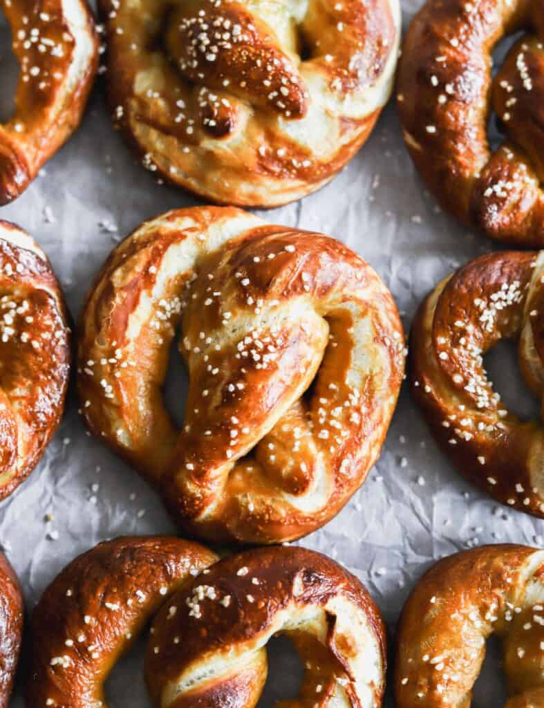Easy soft buttery pretzels spread out with pretzel soft.