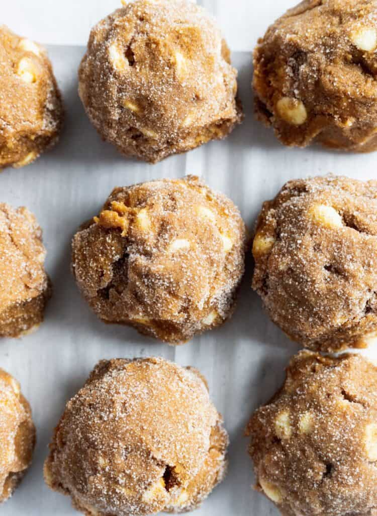 Pumpkin cookie dough rolled in cinnamon sugar.
