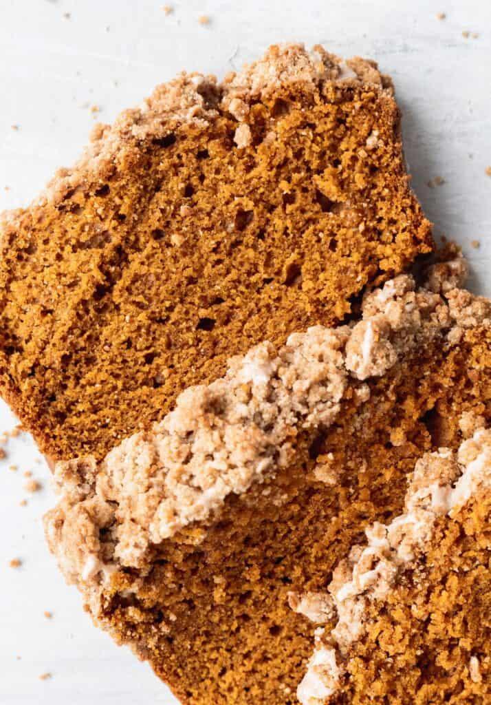 Close up of moist pumpkin bread slices
