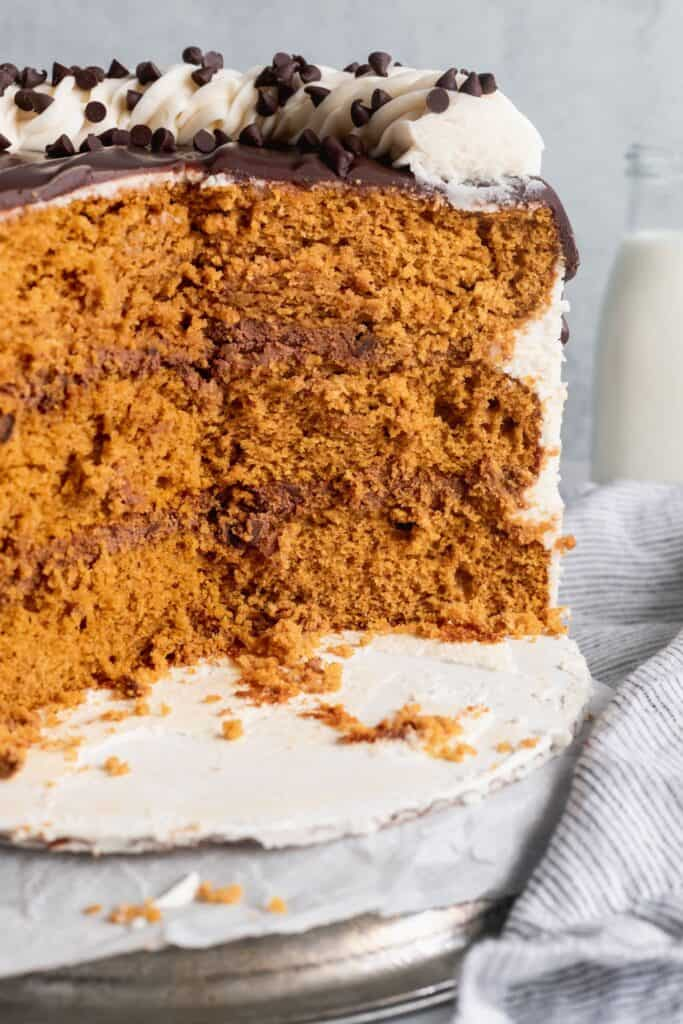 Pumpkin chocolate chip cake cut into to show the layers.