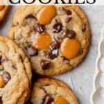 Pinterest pin for caramel chocolate chip cookies.
