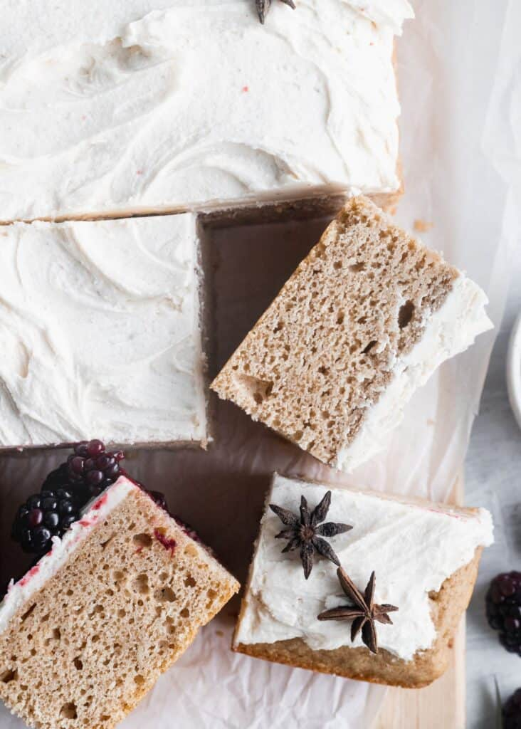 Chai spiced sheet cake with 2 slices on the side.