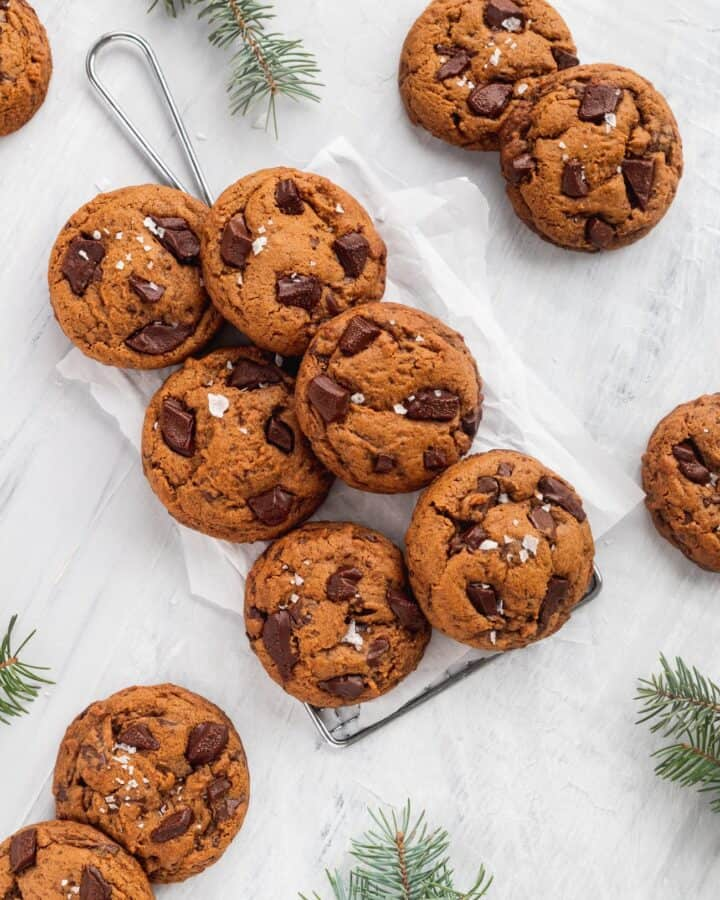Healthy chocolate gingerbread cookies with chocolate chunks.