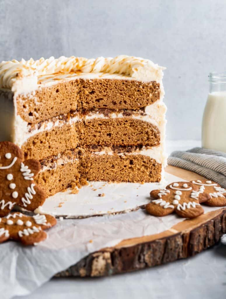 Cut into moist gingerbread cake showing chocolate chip cookie filling.