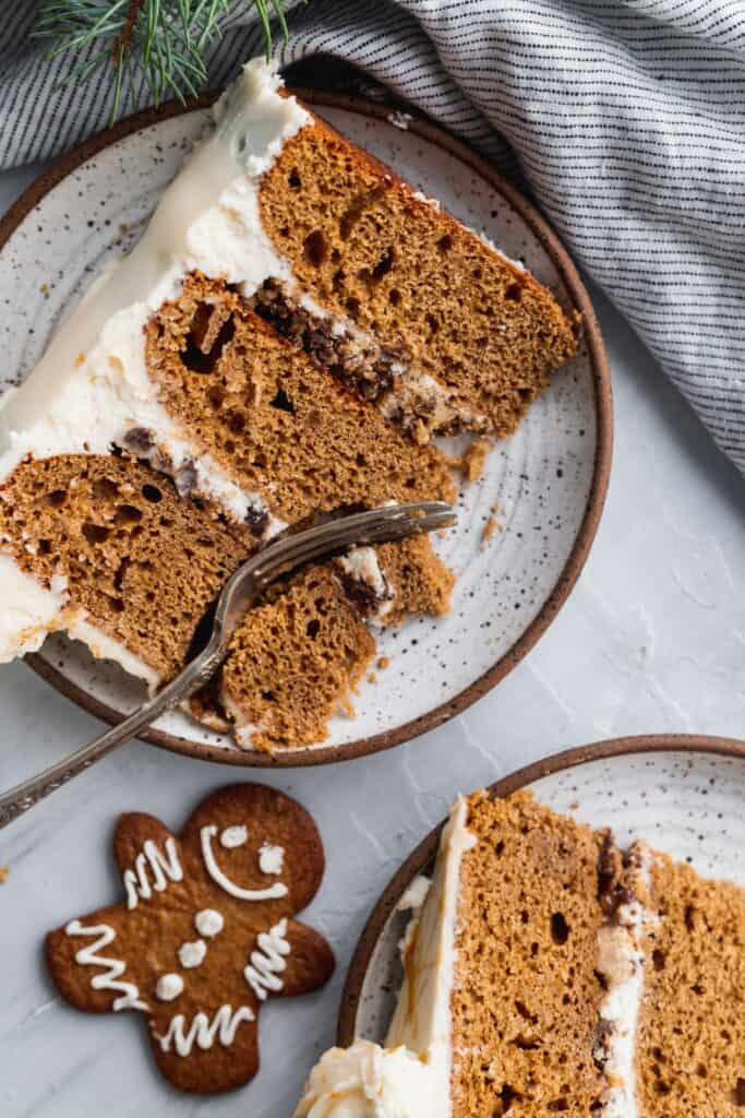Close up of moist gingerbread cake slice.