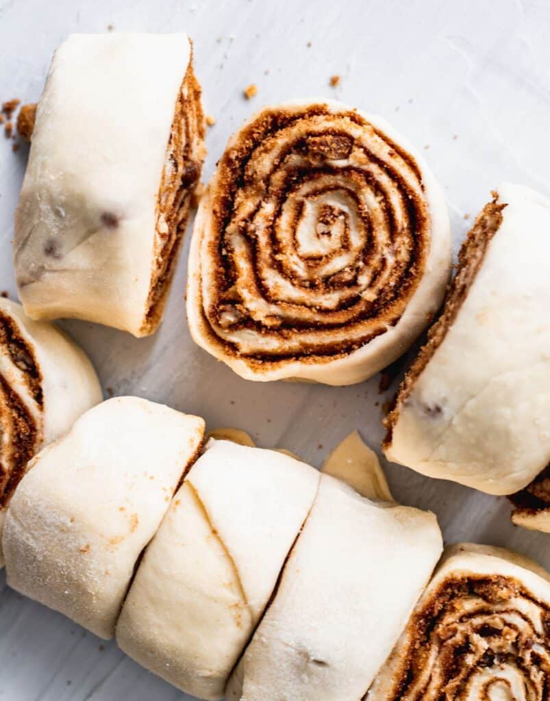 Rolled cinnamon roll raw.