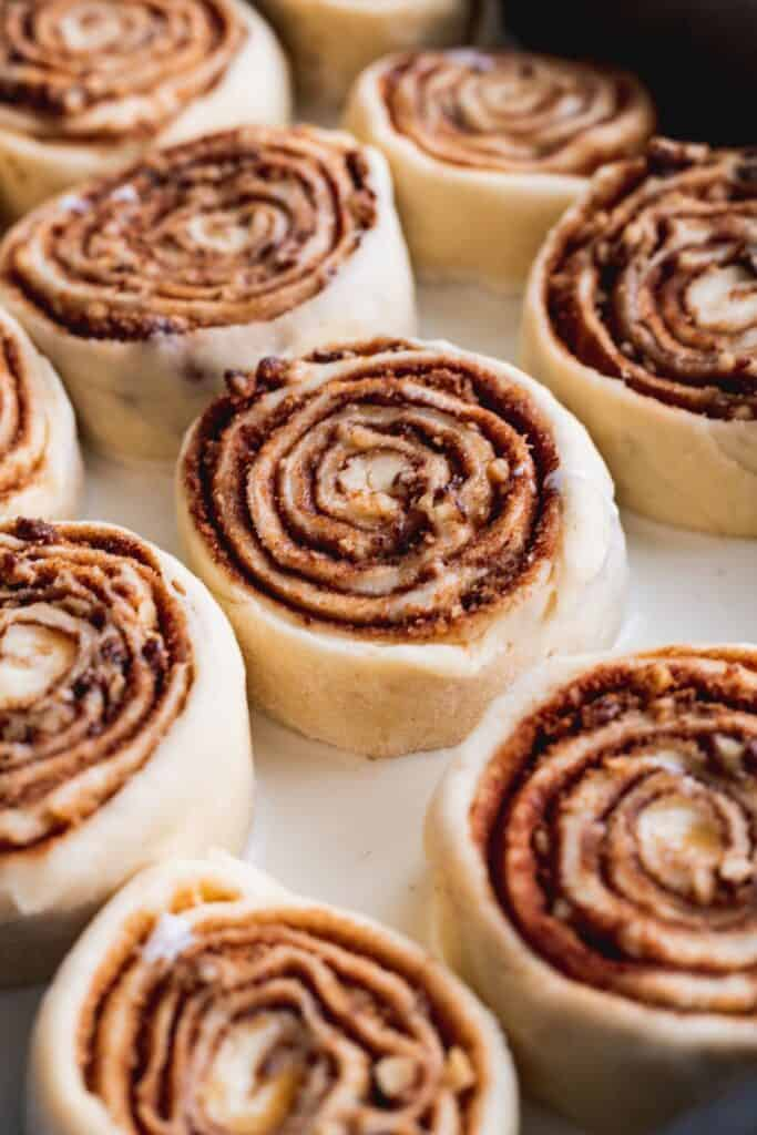 Heavy cream soaked cinnamon rolls