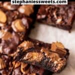 Pinterest pin for peanut butter cup brownies