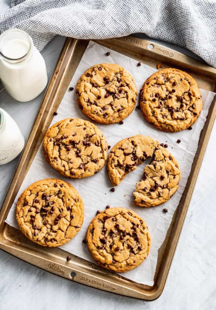 Peanut butter chocolate chip on a cookie sheet.