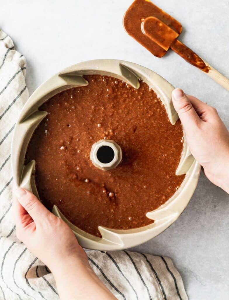 Cake batter in a bundt cake