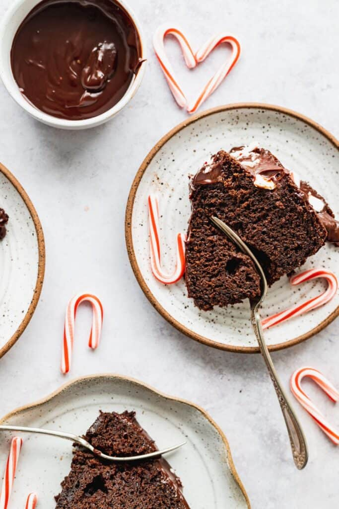 Sliced cake on plates.