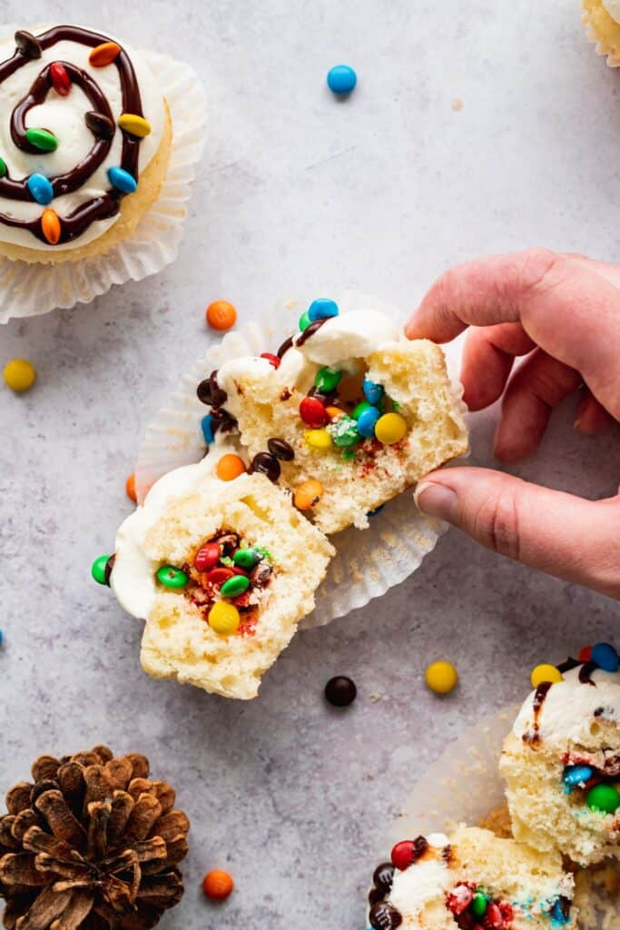Filled cupcakes with mini m&ms