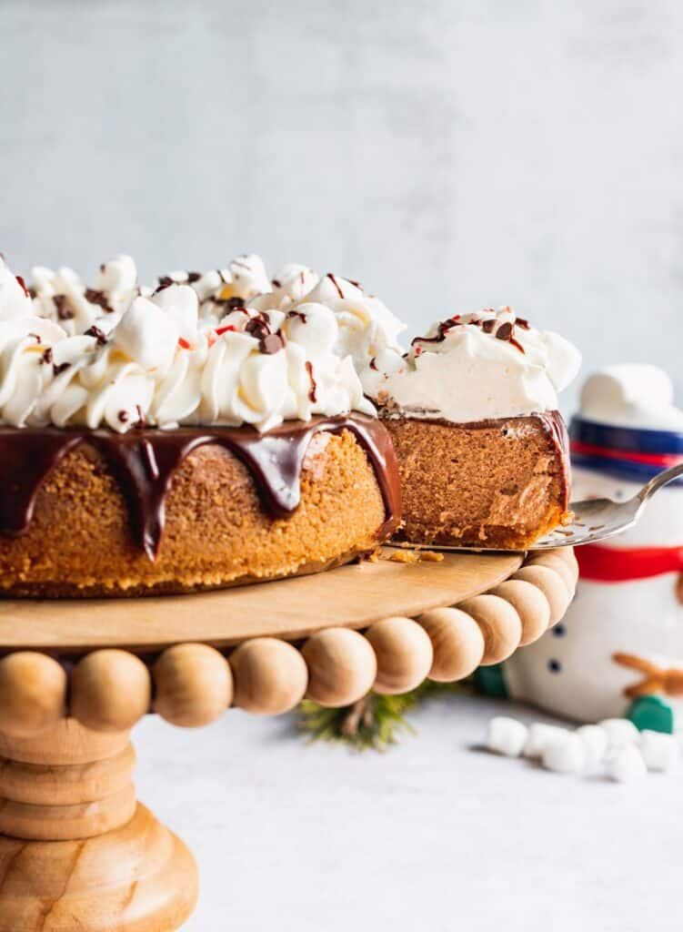 Take a slice out of hot chocolate cheesecake.