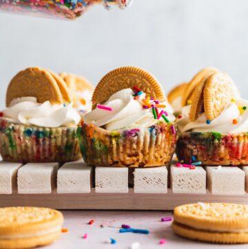 Mini funfetti cheesecake getting sprinkles on top.