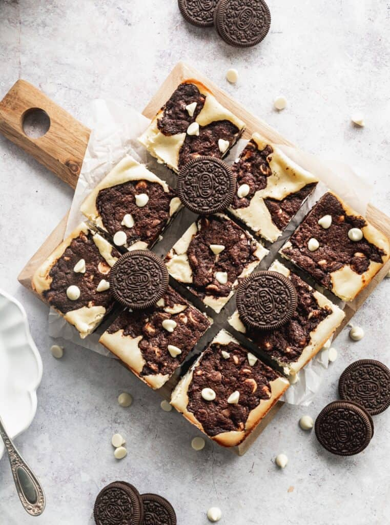 Oreo cookie dough bars cut into squares.