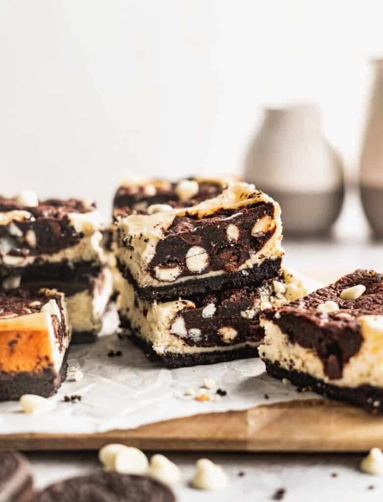 Stack of Oreo cookie dough bars.