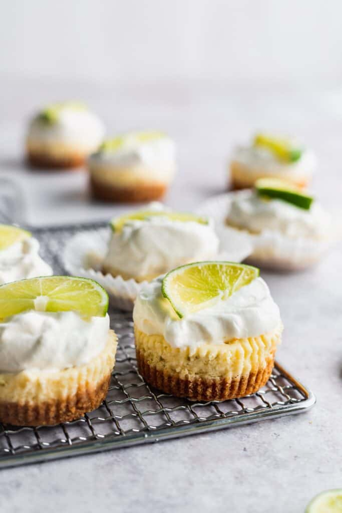Side view of mini key lime cheesecakes.