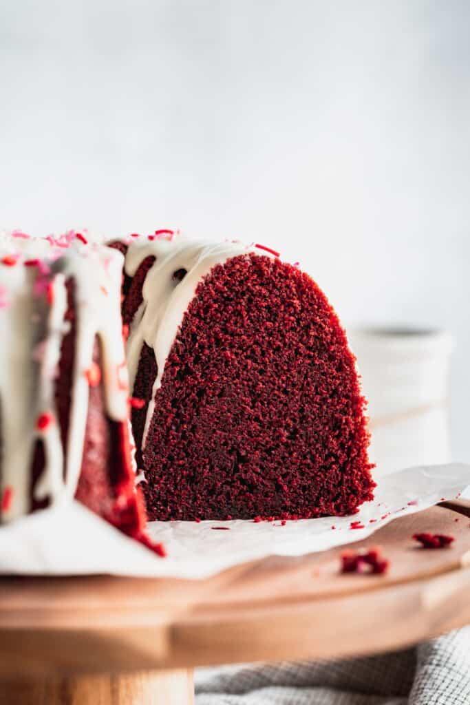 Side view of bundt cake.