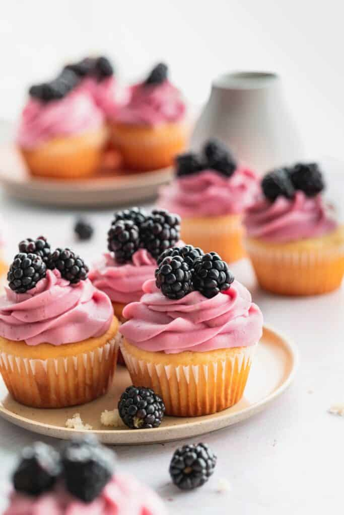 Cupcakes on a plate.