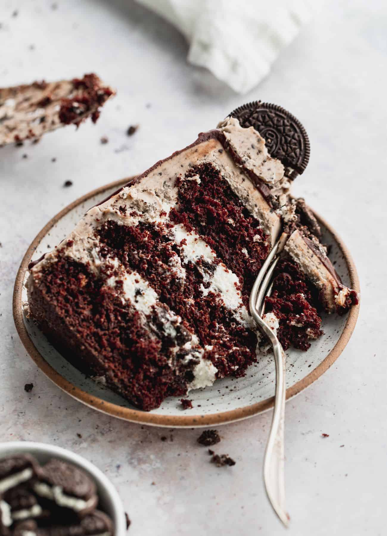 Close up of cookies and cream cake.
