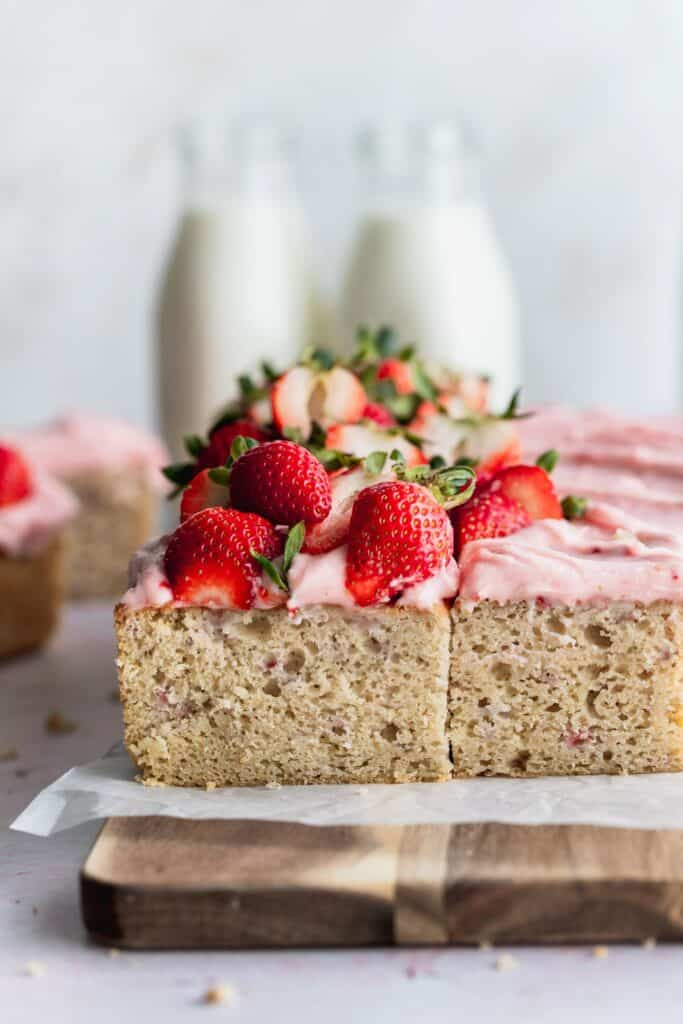 Side view of strawberry sheet cake.