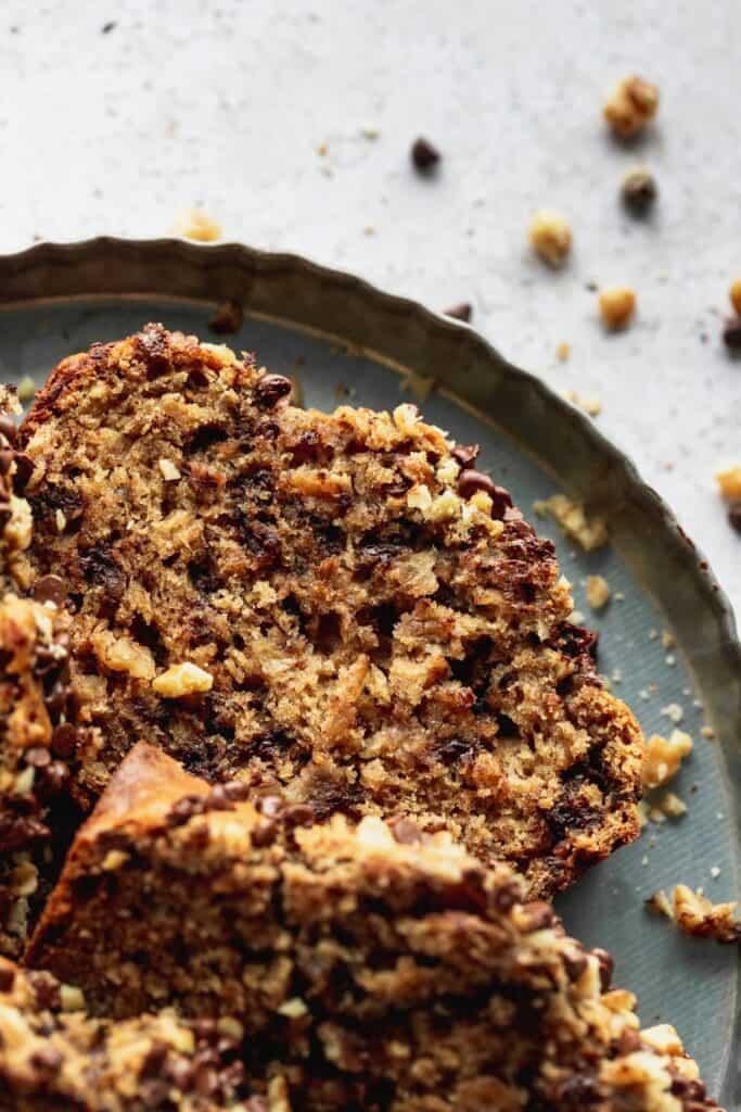 Close up of chocolate chip walnut banana bread.