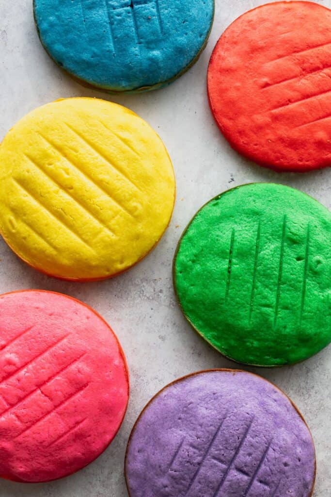 Colorful cakes top view.