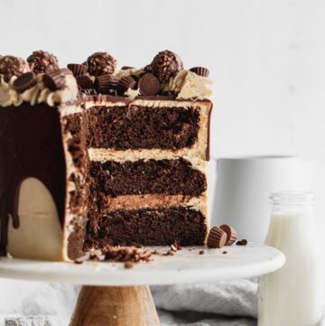 Nutella and peanut butter cake opened up on a cake stand.