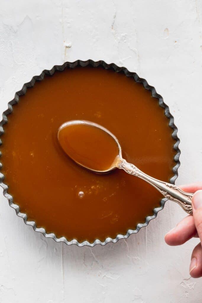 Butterscotch sauce in a tin.