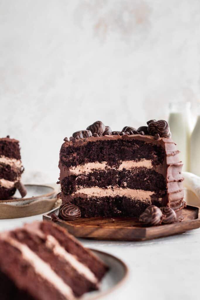 Mini chocolate cake cut in half to show insides.