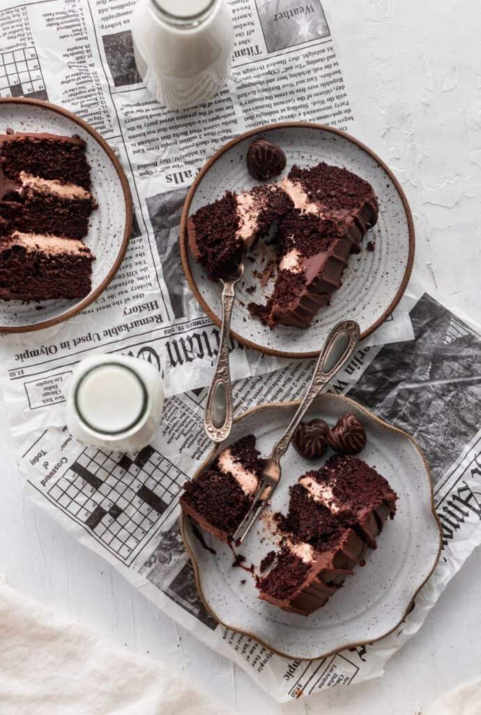 Mini chocolate cake slices on newspaper.