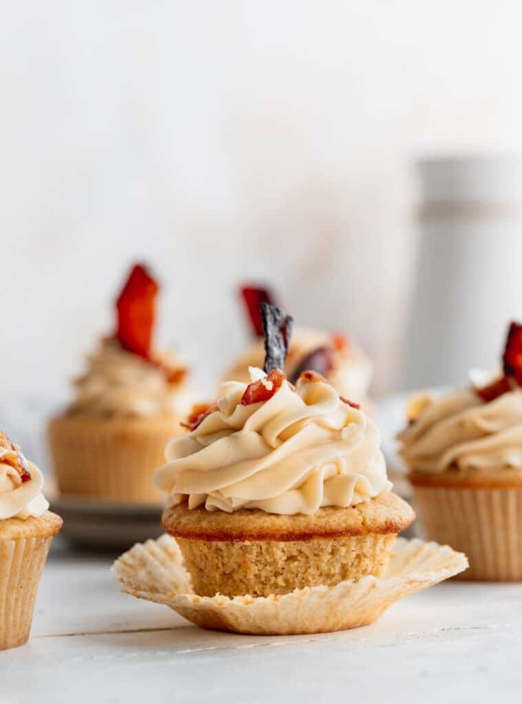 Cupcakes with wrapper down.
