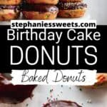 Pinterest Pin for birthday cake donuts.