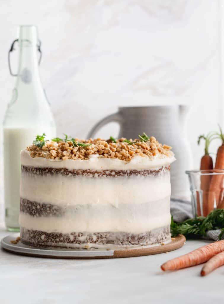Carrot cake on a platter