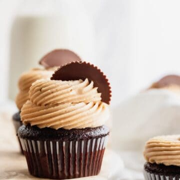 Peanut butter chocolate cupcakes on a platter.